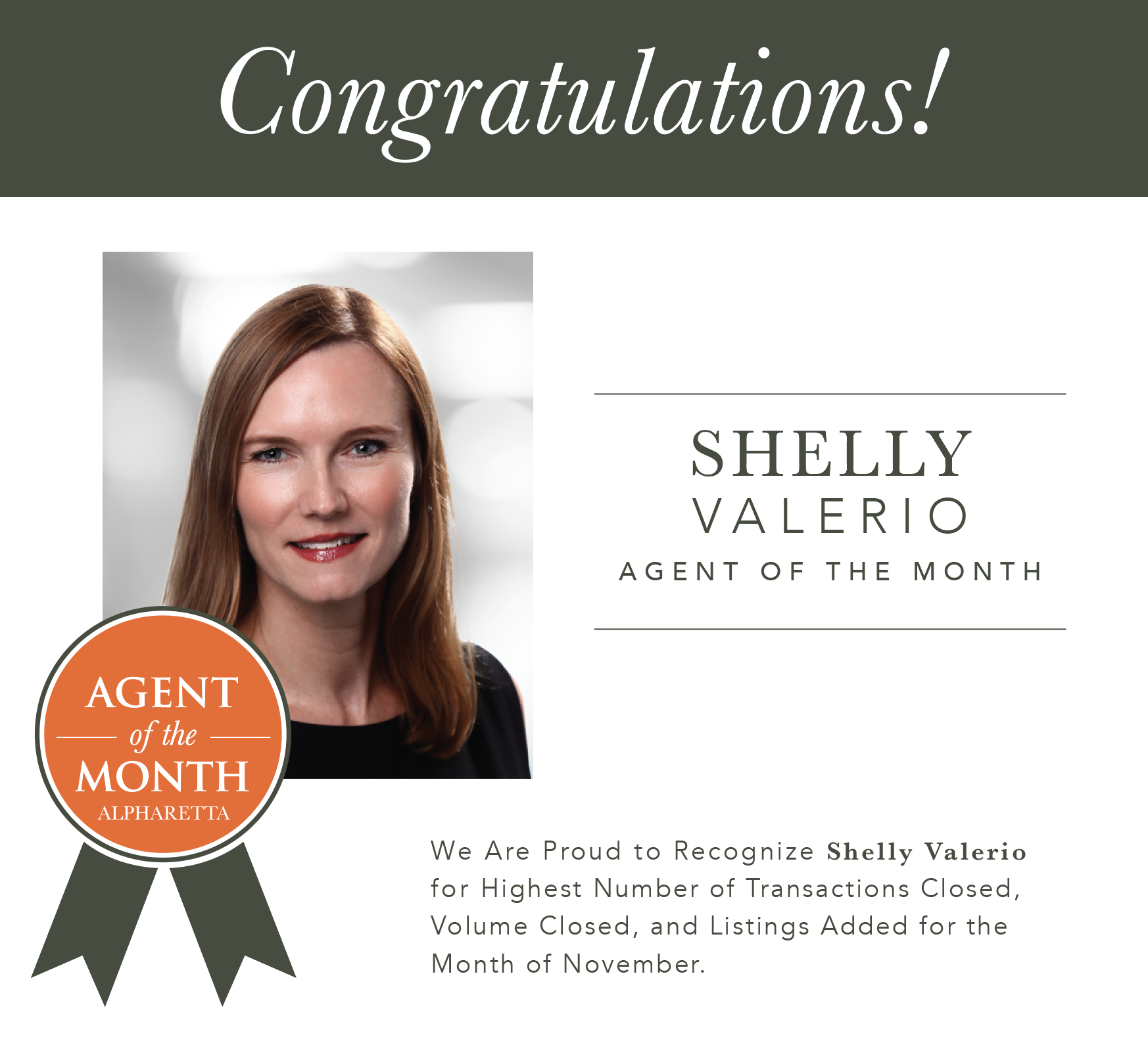 Muffley & Associates Real Estate Alpharetta November Agent of the Month