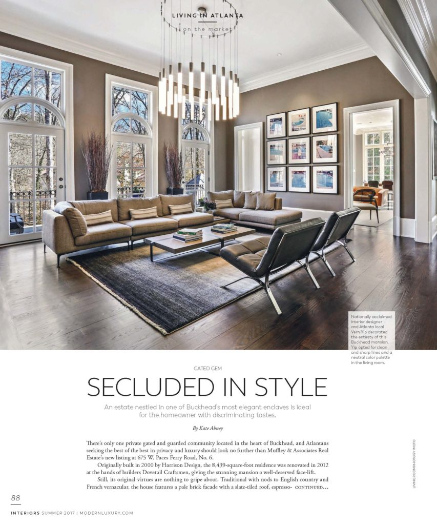 Modern Luxury's Interiors Magazine featuring Muffley & Associates' Exquisite Buckhead mansion for sale, 675 West Paces Ferry Road #6