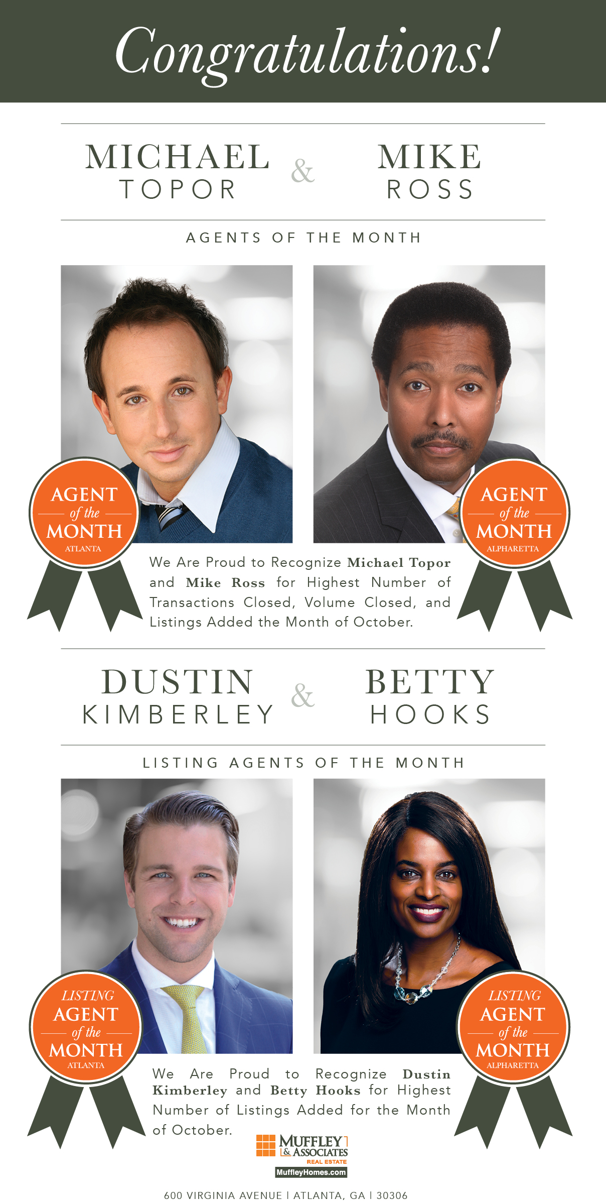 Muffley & Associates Agents of the Month, October 2017