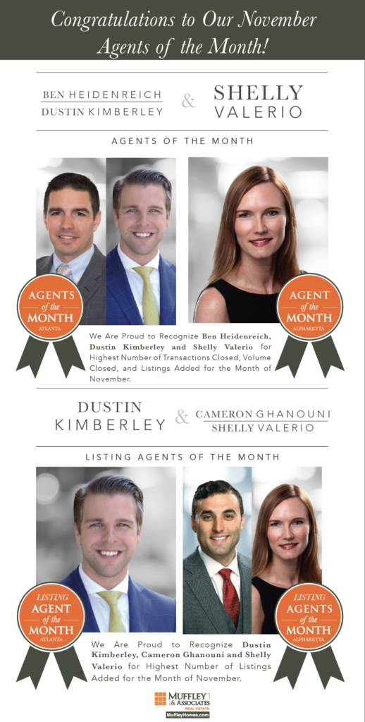 Muffley & Associates Real Estate's Agents of the Month for November 2017