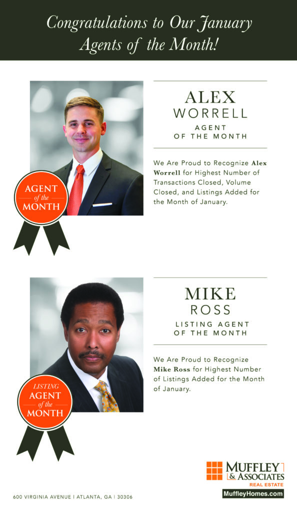 Muffley & Associates Real Estate of Atlanta congratulates agents of the month in January