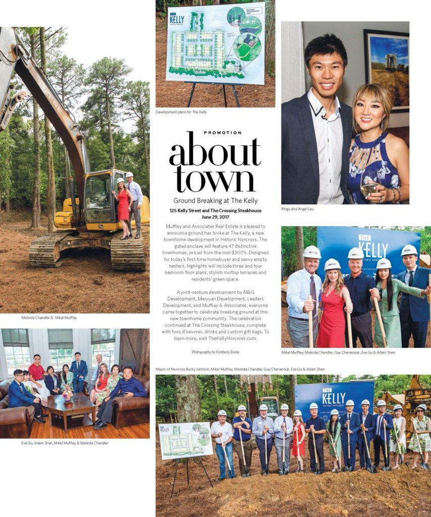 The Kelly Historic Norcross Townhomes was features in Interiors Magazine's About Town article for the ground breaking